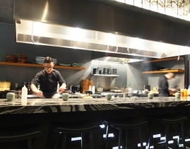 Owner Sa Hwang working the teppan grill.