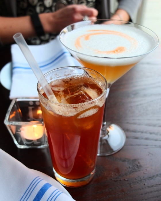 Our drinks: a glass of house made root beer and the amaretto sour.