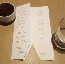 The food and wine portion of the menu.
