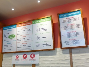 The menu at Splash Poke.