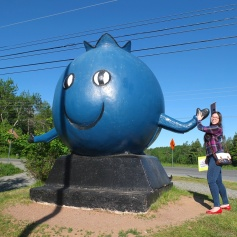 Giving the giant blueberry in Oxford a high five!