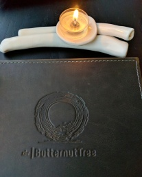 The logo embossed on the menu.