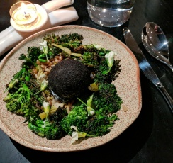 Broccoli with a Leek Ash covered Duck Egg
