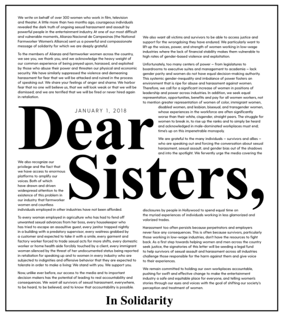 The letter of solidarity posted on the Time's Up website.
