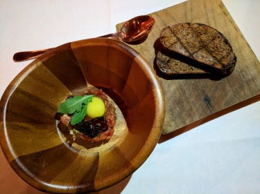 The full presentation of the Beef Tartar.
