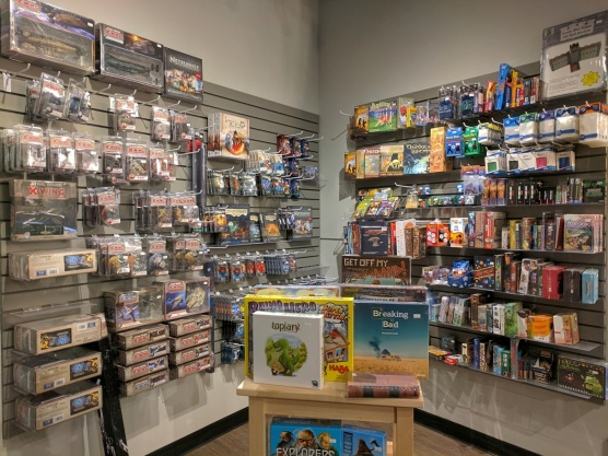 One of the corners of the space filled to the brim with games for purchase.
