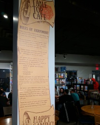 The Rules of Enjoyment are posted in the cafe.