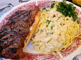 New York Steak Sandwich with Pasta in Clam Sauce