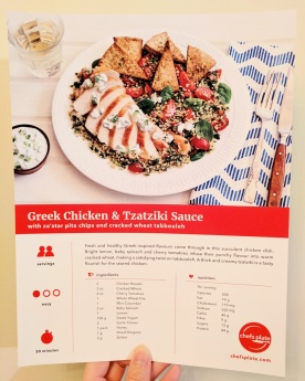 The front of the Greek Chicken & Tzatziki Sauce recipe card.