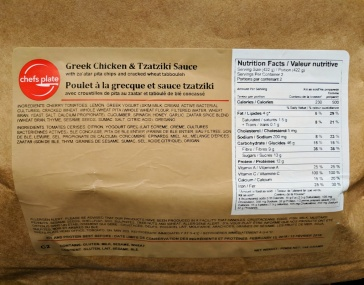 The label on the back of the bag shows nutritional info.