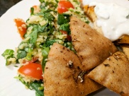 Pita chips and tabbouleh salad.