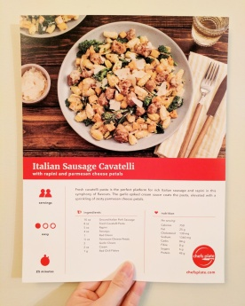 The front of our Italian Sausage Cavatelli card.