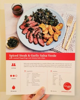 The front of our Spiced Steak & Garlic Salsa Verde card.