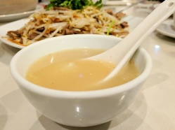 A bowl of the Peking duck broth.