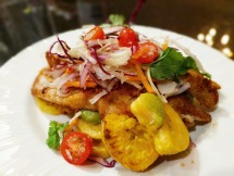 Crispy Battered Sole with Fried Plantains, Slaw and Guacamole