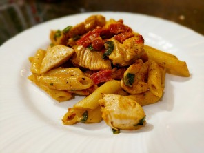 A plate of the Cajun Chicken Pasta.