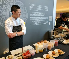 Wildflower Grill's chef, J.P. Dublado overseeing his table at the DTDW reception.