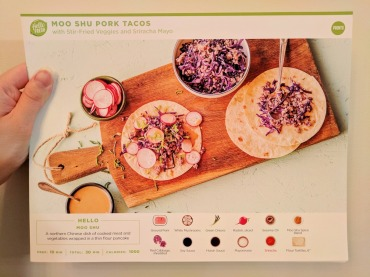 The front of the Moo Shu Pork Tacos recipe card.