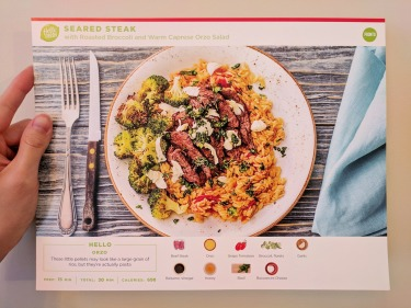 The front of the Seared Steak recipe card.