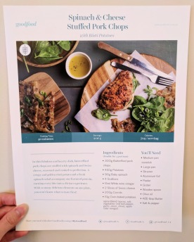 The front of the Spinach & Cheese Stuffed Pork Chops recipe card.
