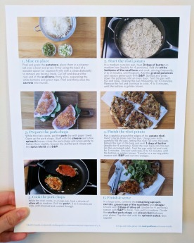 The back of the Spinach & Cheese Stuffed Pork Chops recipe card.