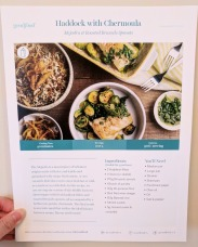 The front of the Haddock & Chermoula recipe card.