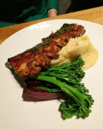 The ribs came with beets, broccolini and mashed potatoes.
