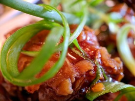 A close-up of the crispy ginger beef.