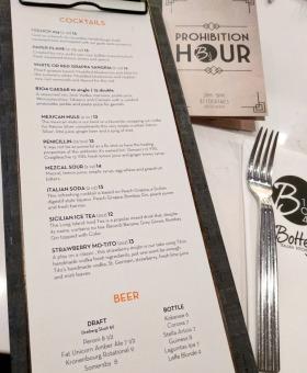 Bottega's cocktail menu.