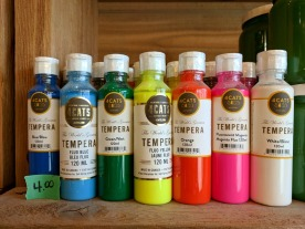 Bottles of tempera paint can be purchased.
