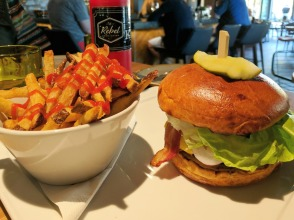 Rebel Chz Brgr with added bacon and Fries