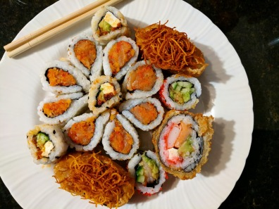 I plated my order from Sushi Shop at home.
