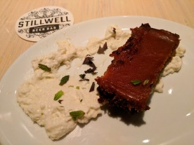 My amazing brownie dessert at Stillwell Bar.