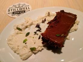 My amazing brownie dessert at Stillwell Bar.