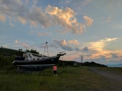 Boat for sale near the marina.
