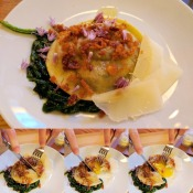 The stages of the Egg Yolk Raviolo from Agricola Street Brasserie.