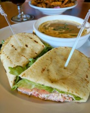 The lobster sandwich special with lobster bisque at Red Shoe Pub.