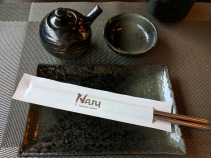 Place setting at Naru Sushi.