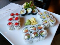 Our plate of rolls at Naru Sushi.
