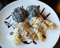 Tempura Banana with Sesame Ice Cream at Naru Sushi.