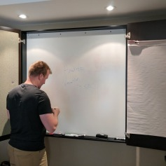 Our hotel room was equipped with a whiteboard for meetings.