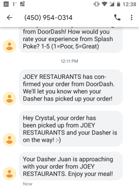 Text messages received from DoorDash kept me apprised of my order status.