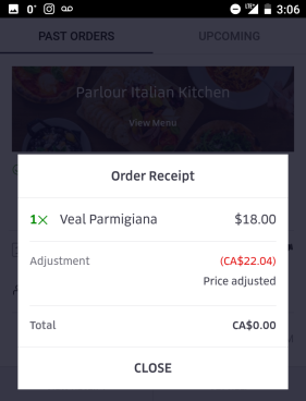 When the food was deemed a problem, Uber Eats issued a full refund within a day.