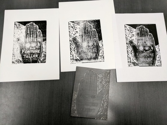 My finished prints from my lino carving.
