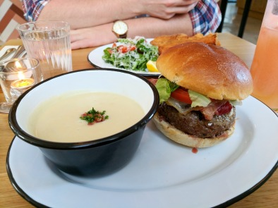 Burger with an upgrade to the soup.