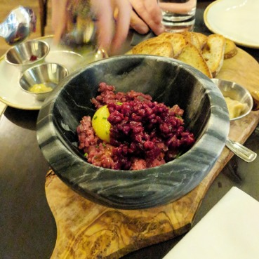 Beef Tartare mixed tableside.