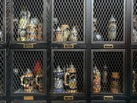 Lockers can be rented for customers to store their beer stein.