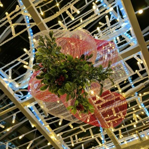 Look for the mistletoe in the Christmas Light Gardens. Nice spot for a kiss!