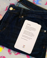 The jeans with a warning about the wash transferring colour.