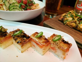 Seared Salmon Sushi prepared Osaka-style